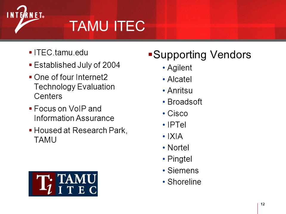 12 TAMU ITEC ITEC.tamu.edu Established July of 2004 One of four Internet2 Technology Evaluation Centers Focus on VoIP and Information Assurance Housed at Research Park, TAMU Supporting Vendors Agilent Alcatel Anritsu Broadsoft Cisco IPTel IXIA Nortel Pingtel Siemens Shoreline