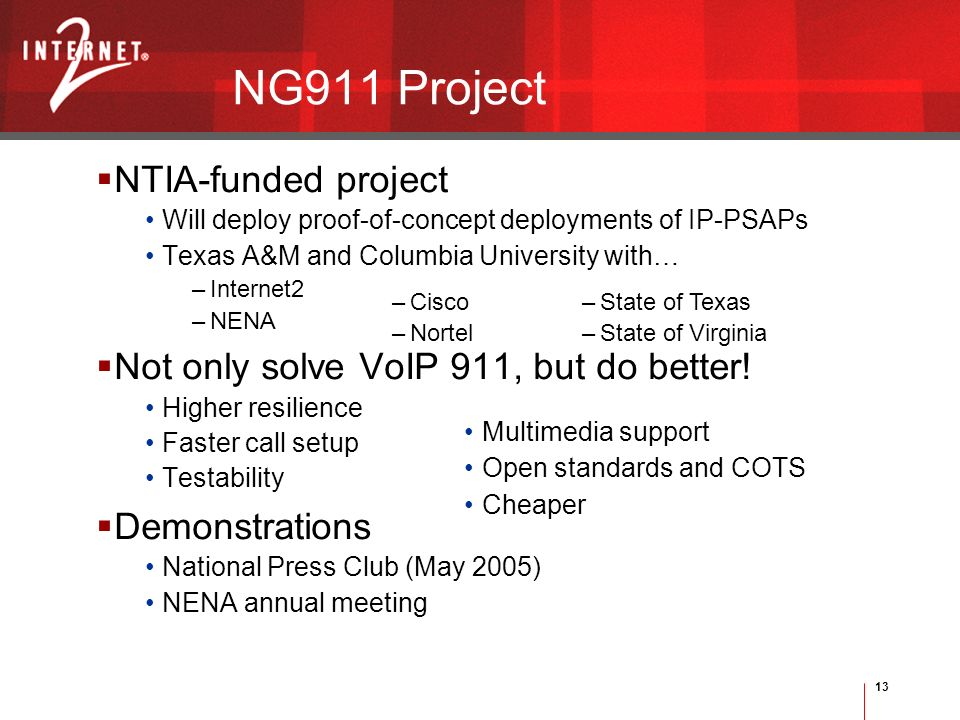 13 Multimedia support Open standards and COTS Cheaper –Cisco –Nortel –State of Texas –State of Virginia NG911 Project NTIA-funded project Will deploy proof-of-concept deployments of IP-PSAPs Texas A&M and Columbia University with… –Internet2 –NENA Not only solve VoIP 911, but do better.