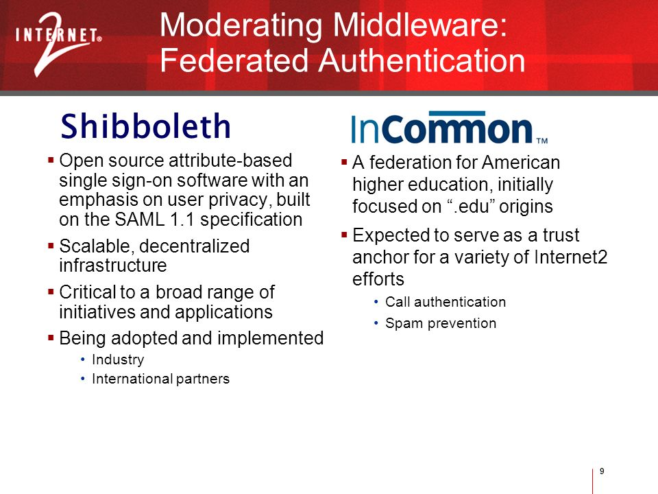 9 Shibboleth Moderating Middleware: Federated Authentication Open source attribute-based single sign-on software with an emphasis on user privacy, built on the SAML 1.1 specification Scalable, decentralized infrastructure Critical to a broad range of initiatives and applications Being adopted and implemented Industry International partners A federation for American higher education, initially focused on.edu origins Expected to serve as a trust anchor for a variety of Internet2 efforts Call authentication Spam prevention