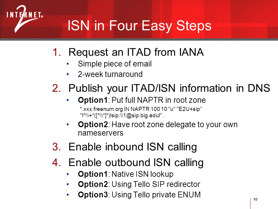 10 ISN in Four Easy Steps 1.Request an ITAD from IANA Simple piece of email 2-week turnaround 2.Publish your ITAD/ISN information in DNS Option1: Put