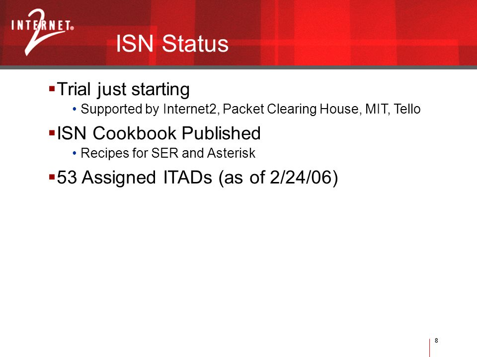 8 Trial just starting Supported by Internet2, Packet Clearing House, MIT, Tello ISN Cookbook Published Recipes for SER and Asterisk 53 Assigned ITADs