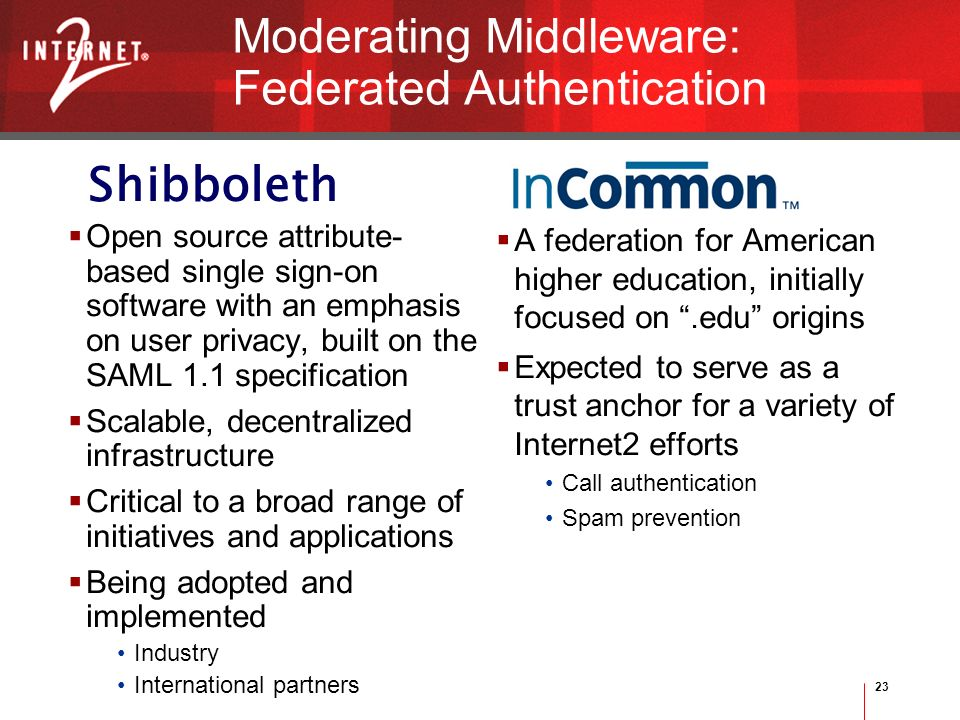 23 Shibboleth Moderating Middleware: Federated Authentication Open source attribute- based single sign-on software with an emphasis on user privacy, built on the SAML 1.1 specification Scalable, decentralized infrastructure Critical to a broad range of initiatives and applications Being adopted and implemented Industry International partners A federation for American higher education, initially focused on.edu origins Expected to serve as a trust anchor for a variety of Internet2 efforts Call authentication Spam prevention