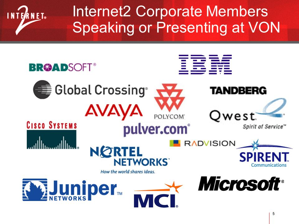 5 Internet2 Corporate Members Speaking or Presenting at VON