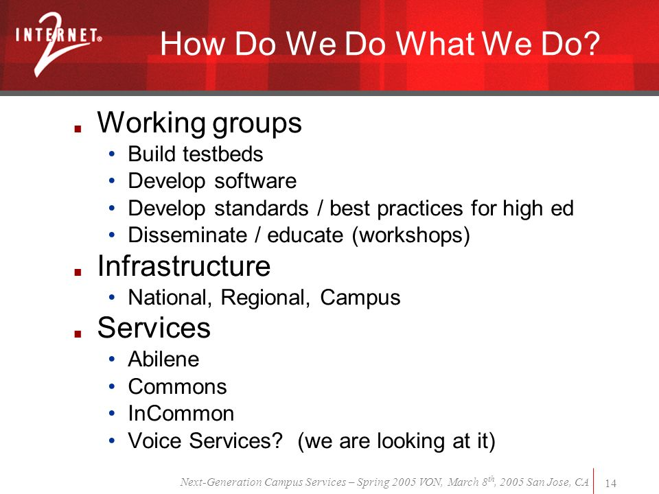 Next-Generation Campus Services – Spring 2005 VON, March 8 th, 2005 San Jose, CA 14 How Do We Do What We Do.