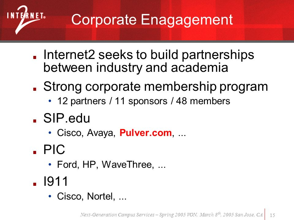 Next-Generation Campus Services – Spring 2005 VON, March 8 th, 2005 San Jose, CA 15 Corporate Enagagement Internet2 seeks to build partnerships between industry and academia Strong corporate membership program 12 partners / 11 sponsors / 48 members SIP.edu Cisco, Avaya, Pulver.com,...