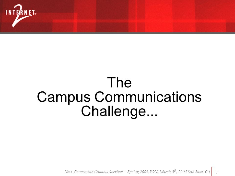 Next-Generation Campus Services – Spring 2005 VON, March 8 th, 2005 San Jose, CA 7 The Campus Communications Challenge...