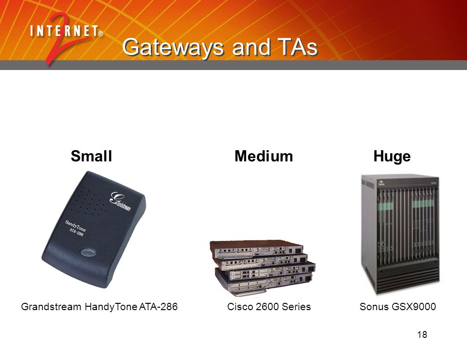 18 Gateways and TAs Sonus GSX9000Grandstream HandyTone ATA-286 Cisco 2600 Series * SmallHugeMedium