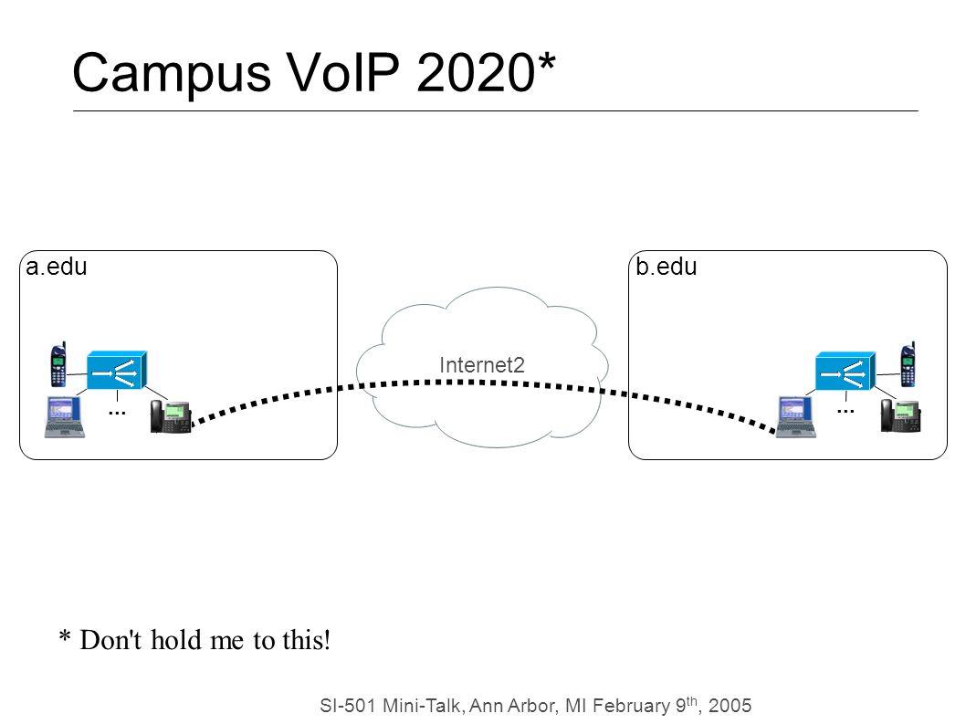 SI-501 Mini-Talk, Ann Arbor, MI February 9 th, 2005 Internet2 Campus VoIP 2020* b.edu...