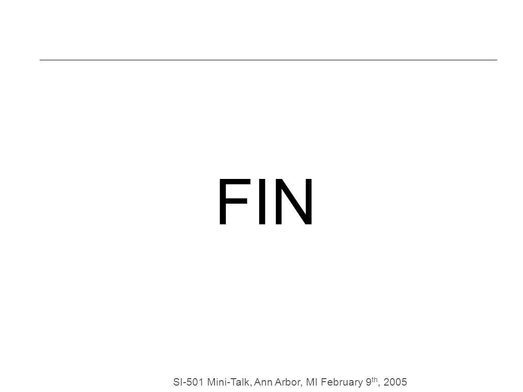 SI-501 Mini-Talk, Ann Arbor, MI February 9 th, 2005 FIN