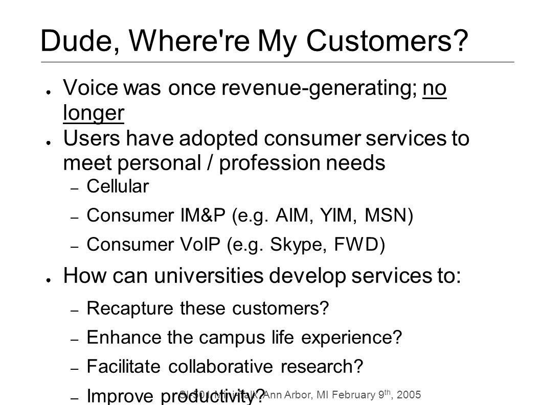 SI-501 Mini-Talk, Ann Arbor, MI February 9 th, 2005 Dude, Where re My Customers.
