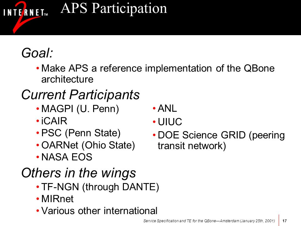 Service Specification and TE for the QBoneAmsterdam (January 25th, 2001)17 APS Participation Goal: Make APS a reference implementation of the QBone ar