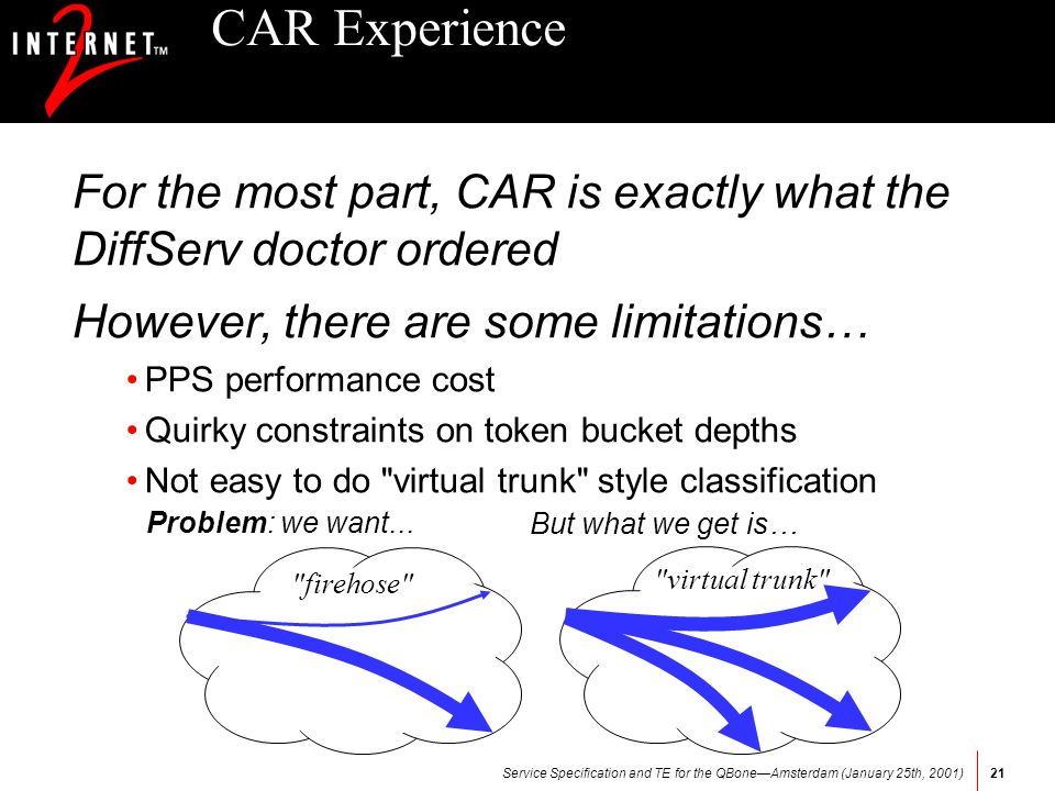 Service Specification and TE for the QBoneAmsterdam (January 25th, 2001)21 CAR Experience For the most part, CAR is exactly what the DiffServ doctor ordered However, there are some limitations… PPS performance cost Quirky constraints on token bucket depths Not easy to do virtual trunk style classification Problem: we want...