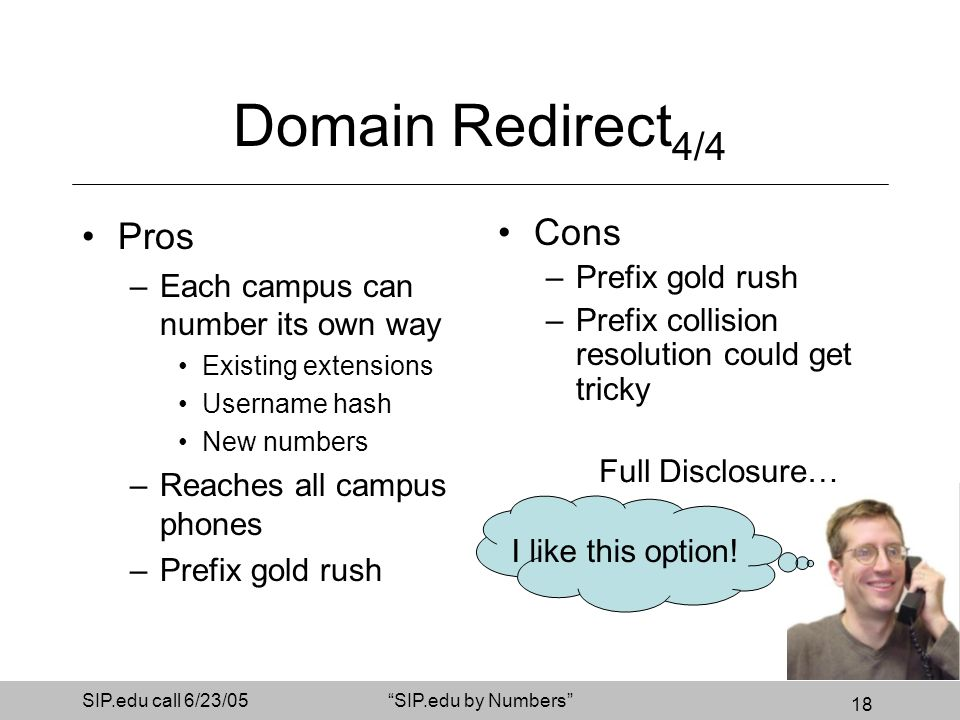 18 SIP.edu call 6/23/05SIP.edu by Numbers Domain Redirect 4/4 Pros –Each campus can number its own way Existing extensions Username hash New numbers –Reaches all campus phones –Prefix gold rush Cons –Prefix gold rush –Prefix collision resolution could get tricky I like this option.