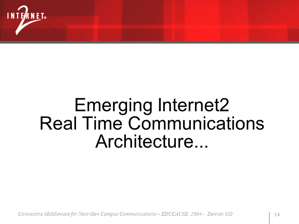 Connective Middleware for Next-Gen Campus Communications – EDUCAUSE 2004 - Denver, CO 14 Emerging Internet2 Real Time Communications Architecture...