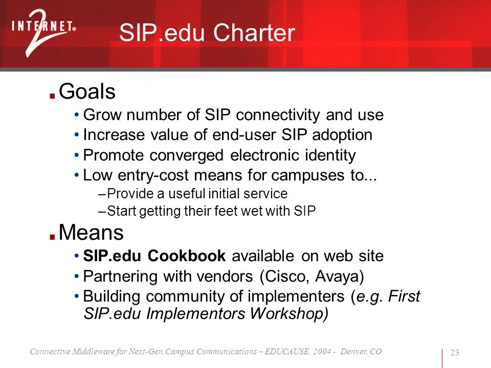 Connective Middleware for Next-Gen Campus Communications – EDUCAUSE 2004 - Denver, CO 23 SIP.edu Charter Goals Grow number of SIP connectivity and use Increase value of end-user SIP adoption Promote converged electronic identity Low entry-cost means for campuses to...