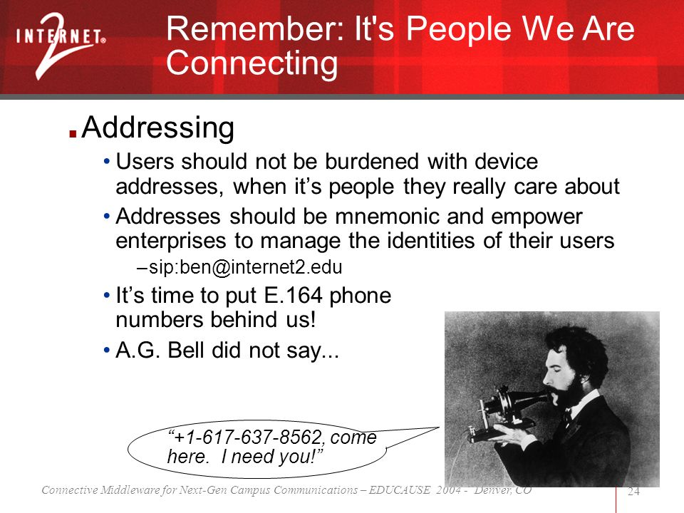 Connective Middleware for Next-Gen Campus Communications – EDUCAUSE 2004 - Denver, CO 24 Addressing Users should not be burdened with device addresses