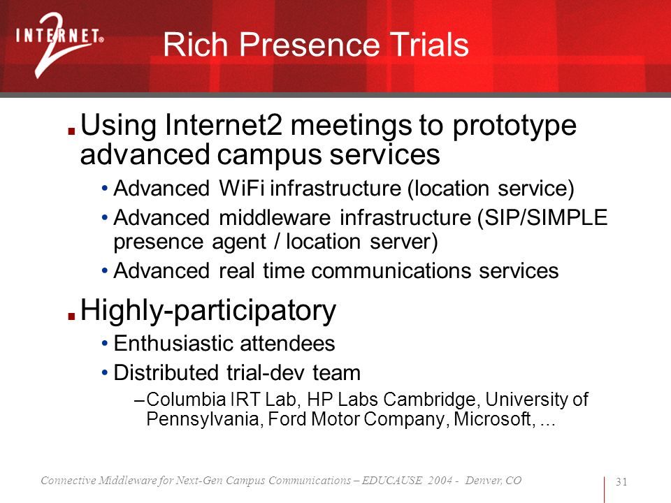 Connective Middleware for Next-Gen Campus Communications – EDUCAUSE 2004 - Denver, CO 31 Rich Presence Trials Using Internet2 meetings to prototype ad
