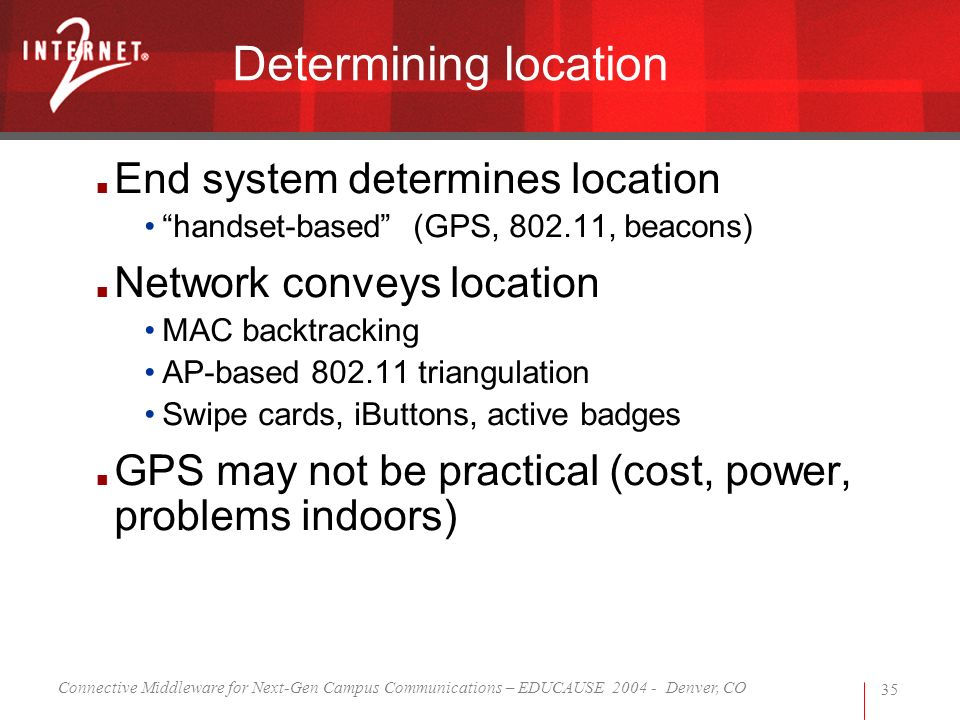 Connective Middleware for Next-Gen Campus Communications – EDUCAUSE 2004 - Denver, CO 35 Determining location End system determines location handset-based (GPS, 802.11, beacons) Network conveys location MAC backtracking AP-based 802.11 triangulation Swipe cards, iButtons, active badges GPS may not be practical (cost, power, problems indoors)