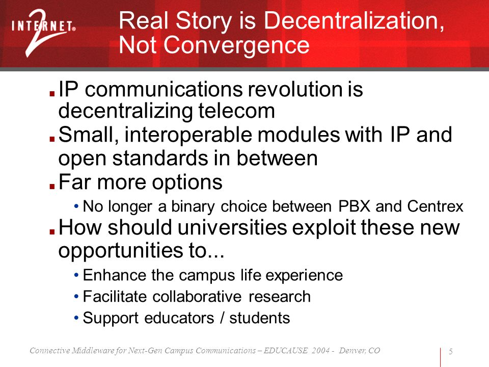 Connective Middleware for Next-Gen Campus Communications – EDUCAUSE 2004 - Denver, CO 5 Real Story is Decentralization, Not Convergence IP communicati
