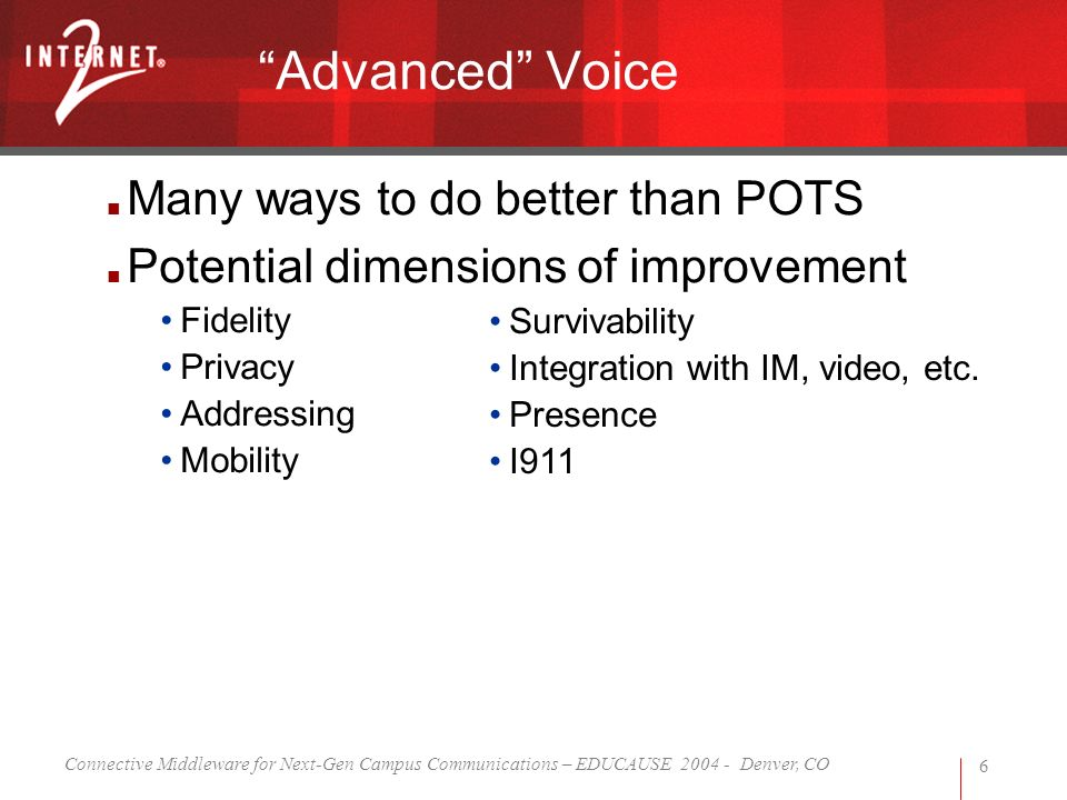 Connective Middleware for Next-Gen Campus Communications – EDUCAUSE 2004 - Denver, CO 6 Many ways to do better than POTS Potential dimensions of improvement Fidelity Privacy Addressing Mobility Advanced Voice Survivability Integration with IM, video, etc.