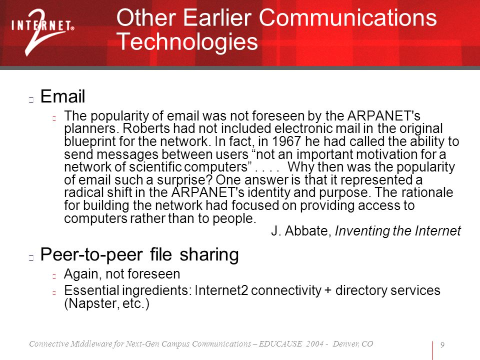 Connective Middleware for Next-Gen Campus Communications – EDUCAUSE 2004 - Denver, CO 9 Other Earlier Communications Technologies Email The popularity of email was not foreseen by the ARPANET s planners.