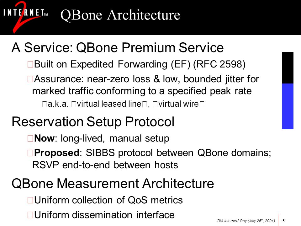 IBM Internet2 Day (July 26 th, 2001)5 QBone Architecture A Service: QBone Premium Service •Built on Expedited Forwarding (EF) (RFC 2598) •Assurance: near-zero loss & low, bounded jitter for marked traffic conforming to a specified peak rate a.k.a.