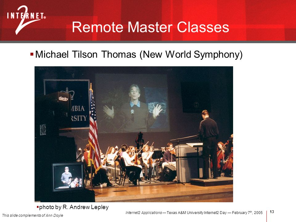 Internet2 Applications Texas A&M University Internet2 Day February 7 th, Remote Master Classes Michael Tilson Thomas (New World Symphony) photo by R.