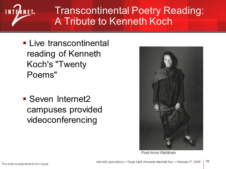 Internet2 Applications Texas A&M University Internet2 Day February 7 th, Transcontinental Poetry Reading: A Tribute to Kenneth Koch Live transcontinental reading of Kenneth Koch s Twenty Poems Seven Internet2 campuses provided videoconferencing Poet Anne Waldman This slide complements of Ann Doyle