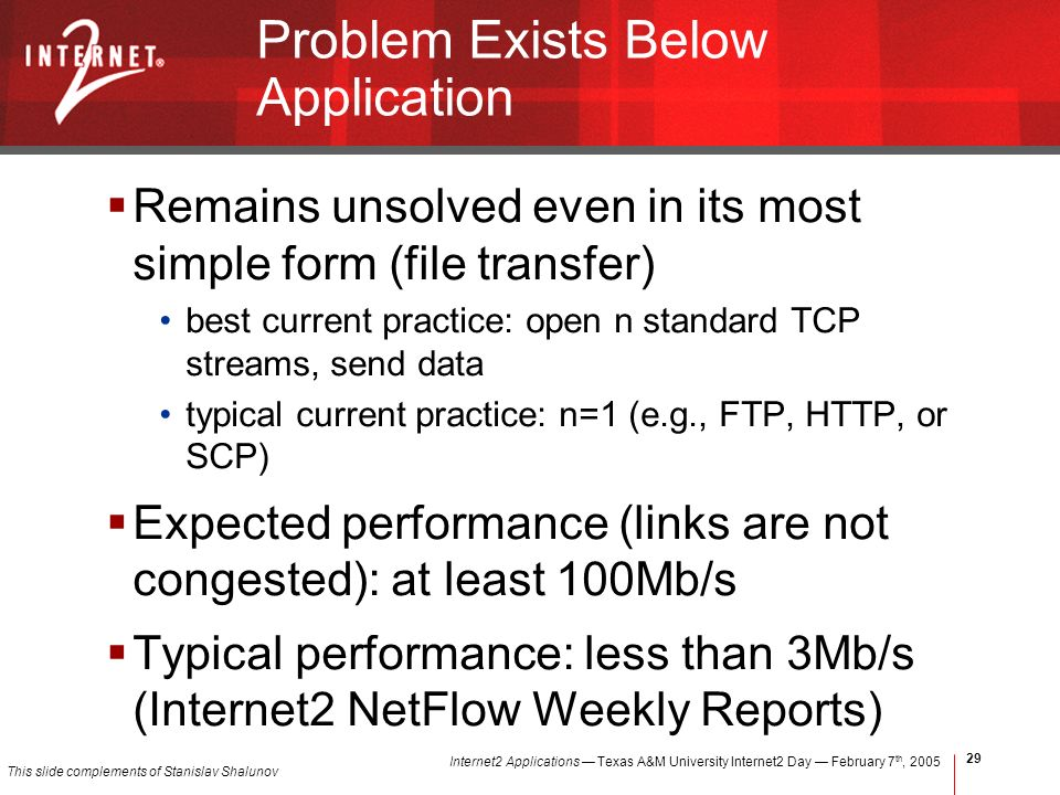 Internet2 Applications Texas A&M University Internet2 Day February 7 th, Problem Exists Below Application Remains unsolved even in its most simple form (file transfer) best current practice: open n standard TCP streams, send data typical current practice: n=1 (e.g., FTP, HTTP, or SCP) Expected performance (links are not congested): at least 100Mb/s Typical performance: less than 3Mb/s (Internet2 NetFlow Weekly Reports) This slide complements of Stanislav Shalunov