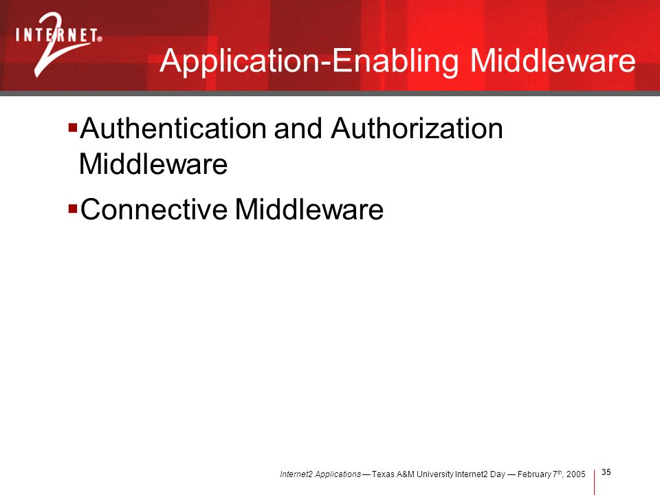 Internet2 Applications Texas A&M University Internet2 Day February 7 th, Application-Enabling Middleware Authentication and Authorization Middleware Connective Middleware
