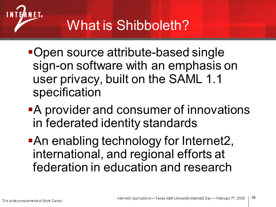 Internet2 Applications Texas A&M University Internet2 Day February 7 th, What is Shibboleth.