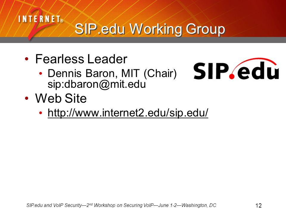SIP.edu and VoIP Security2 nd Workshop on Securing VoIPJune 1-2Washington, DC 12 SIP.edu Working Group Fearless Leader Dennis Baron, MIT (Chair) sip:dbaron@mit.edu Web Site http://www.internet2.edu/sip.edu/