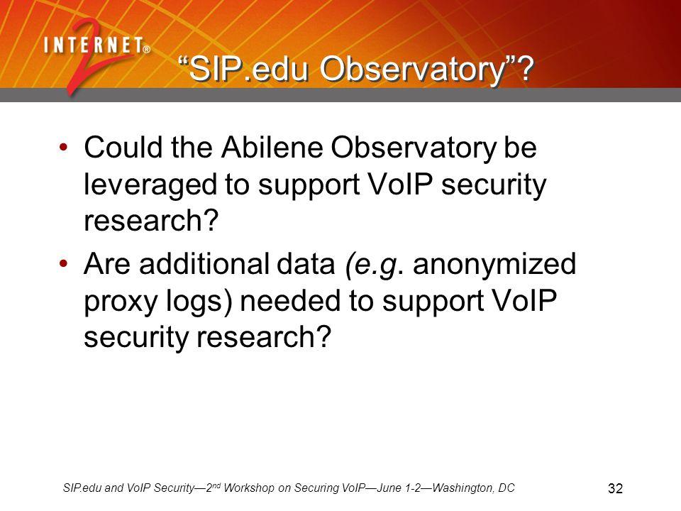 SIP.edu and VoIP Security2 nd Workshop on Securing VoIPJune 1-2Washington, DC 32 SIP.edu Observatory.