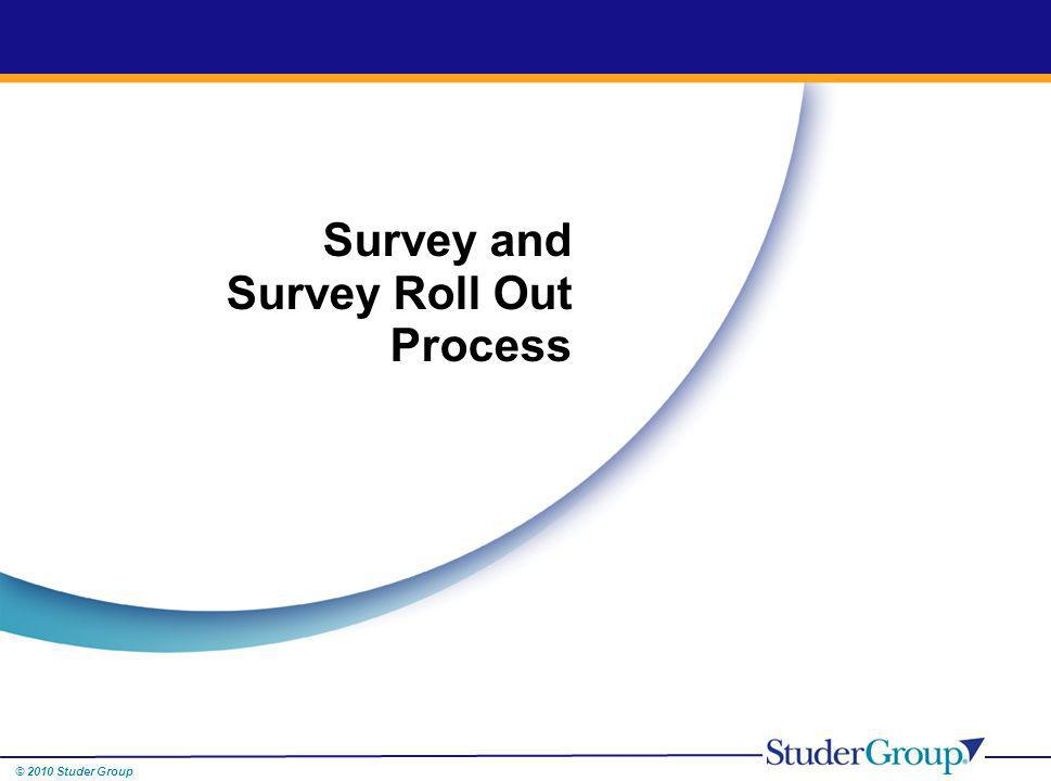 © 2010 Studer Group Survey and Survey Roll Out Process