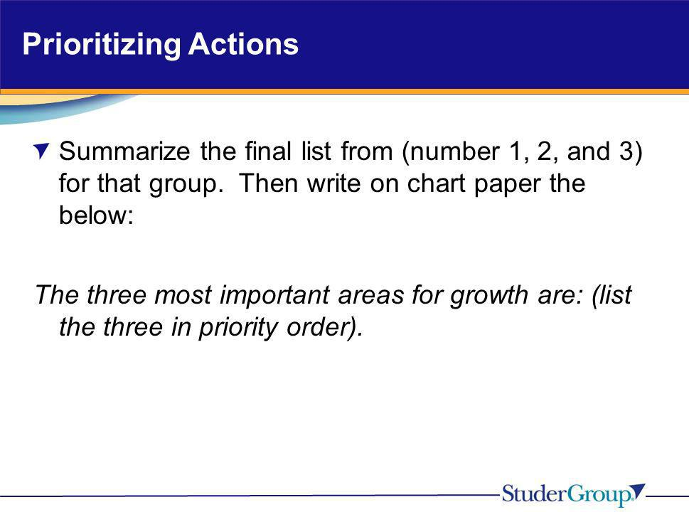 Prioritizing Actions Summarize the final list from (number 1, 2, and 3) for that group. Then write on chart paper the below: The three most important