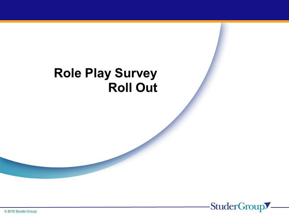 © 2010 Studer Group Role Play Survey Roll Out