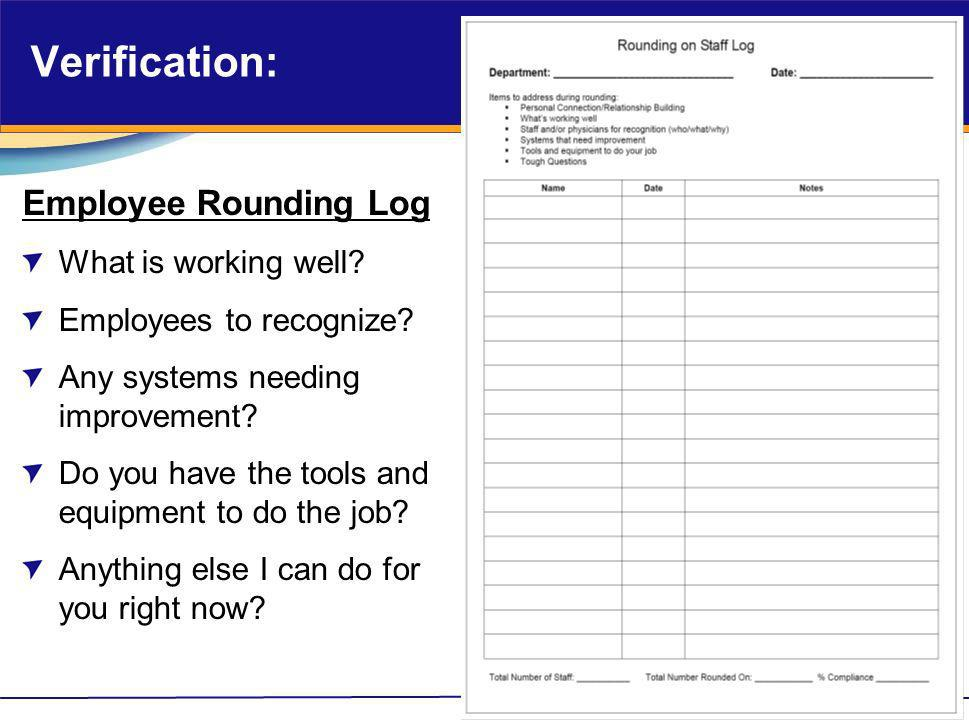 Verification: Employee Rounding Log What is working well? Employees to recognize? Any systems needing improvement? Do you have the tools and equipment