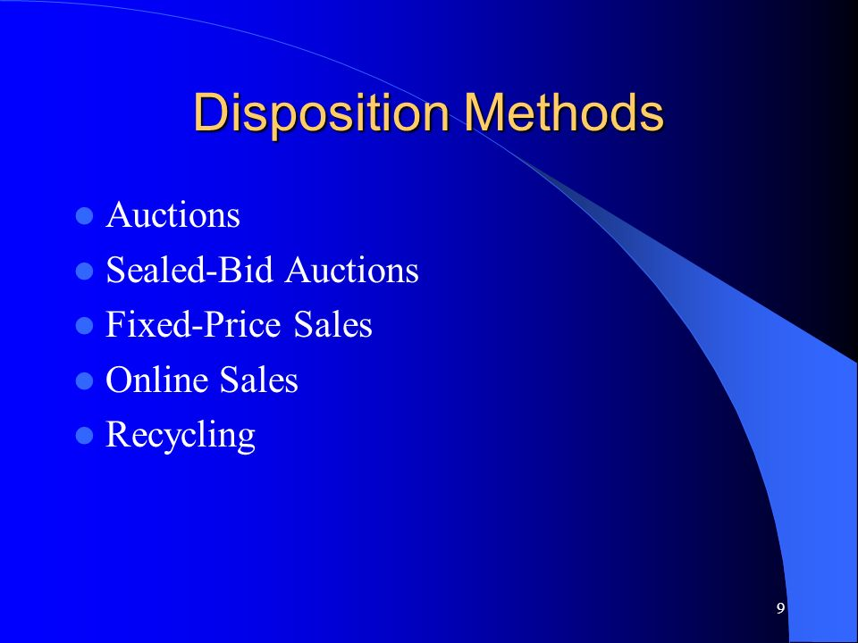 10 Auctions Had been the only method of property disposal up until the mid 1990s.