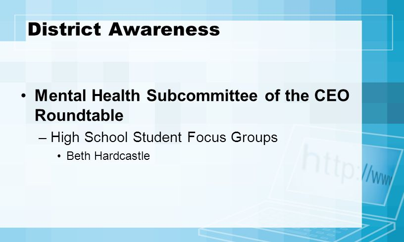 District Awareness Mental Health Subcommittee of the CEO Roundtable –High School Student Focus Groups Beth Hardcastle