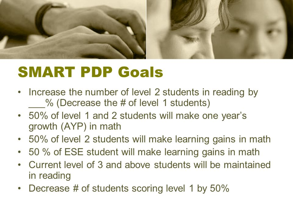 SMART PDP Goals Increase the number of level 2 students in reading by ___% (Decrease the # of level 1 students) 50% of level 1 and 2 students will make one years growth (AYP) in math 50% of level 2 students will make learning gains in math 50 % of ESE student will make learning gains in math Current level of 3 and above students will be maintained in reading Decrease # of students scoring level 1 by 50%