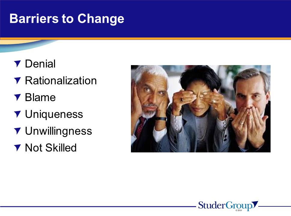Barriers to Change Denial Rationalization Blame Uniqueness Unwillingness Not Skilled