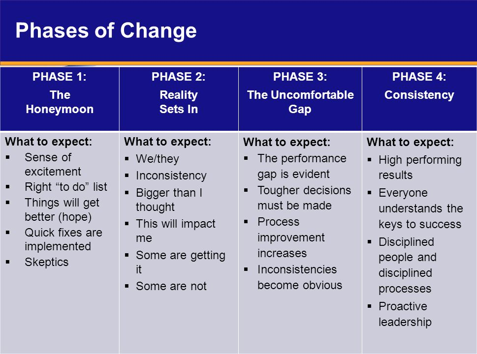 Phases of Change PHASE 1: The Honeymoon PHASE 2: Reality Sets In PHASE 3: The Uncomfortable Gap PHASE 4: Consistency What to expect: Sense of exciteme