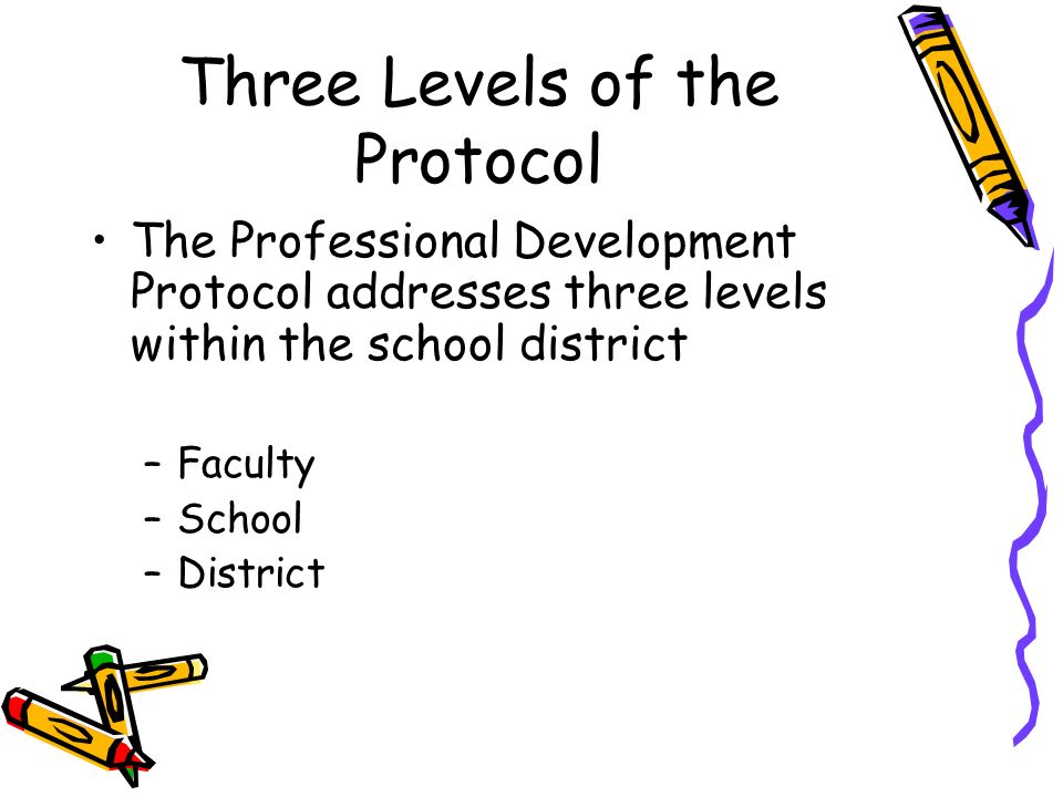 Three Levels of the Protocol The Professional Development Protocol addresses three levels within the school district –Faculty –School –District