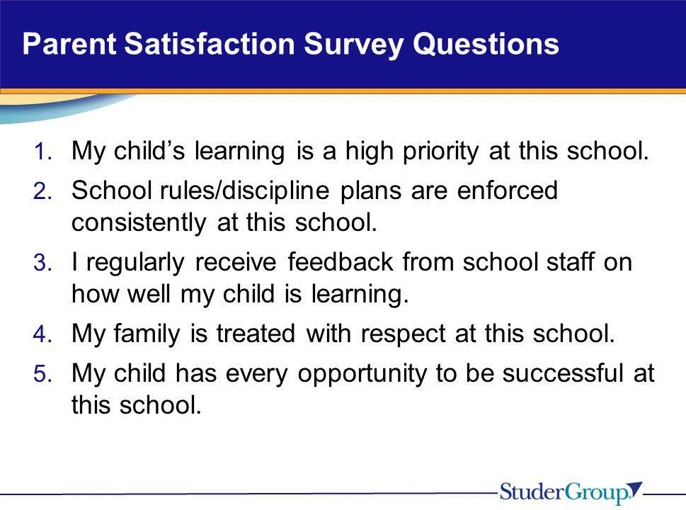 Parent Satisfaction Survey Questions 1. My childs learning is a high priority at this school. 2. School rules/discipline plans are enforced consistent