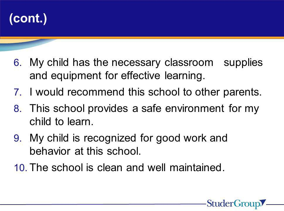 (cont.) 6. My child has the necessary classroom supplies and equipment for effective learning. 7. I would recommend this school to other parents. 8. T