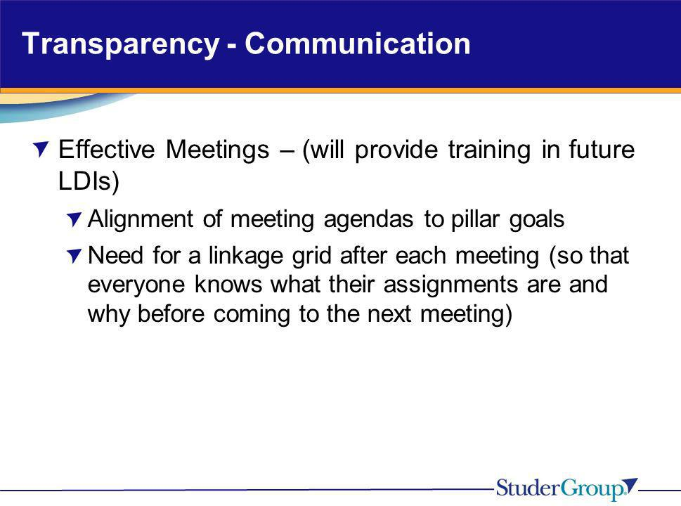 Transparency - Communication Effective Meetings – (will provide training in future LDIs) Alignment of meeting agendas to pillar goals Need for a linka