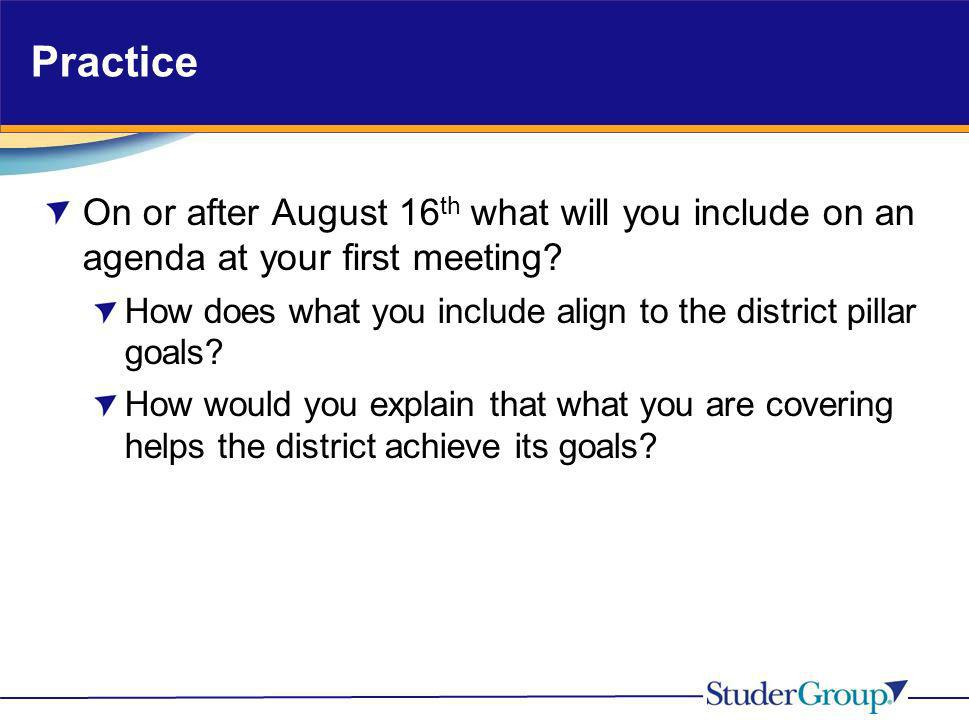 Practice On or after August 16 th what will you include on an agenda at your first meeting? How does what you include align to the district pillar goa