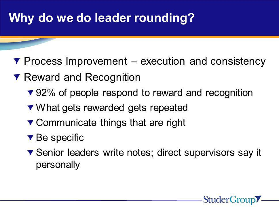 Why do we do leader rounding? Process Improvement – execution and consistency Reward and Recognition 92% of people respond to reward and recognition W
