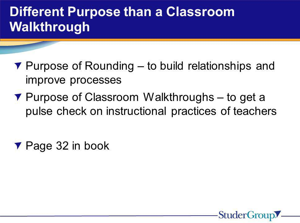Different Purpose than a Classroom Walkthrough Purpose of Rounding – to build relationships and improve processes Purpose of Classroom Walkthroughs –