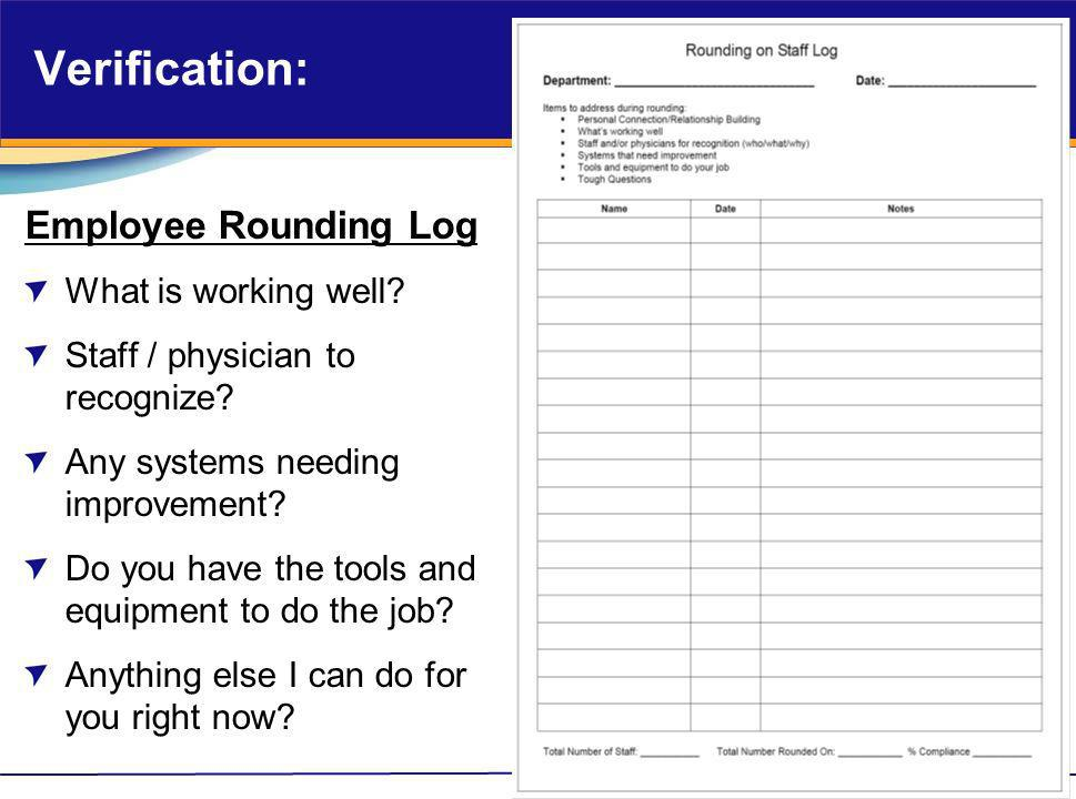 Verification: Employee Rounding Log What is working well? Staff / physician to recognize? Any systems needing improvement? Do you have the tools and e